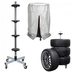 Carrello porta pneumatici fino a 225 con telo di copertura